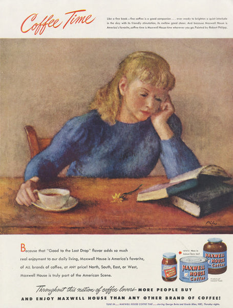 1948 Maxwell House Coffee Print Ad Woman Reading Illustration OR Du Pont Nylon Stockings Hosiery Vintage Advertisement Wall Art Decor