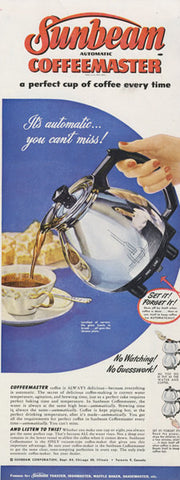 1948 Sunbeam Coffeemaster Coffee Percolator Ad Vintage Appliance Advertising Print Retro Kitchen Wall Art Decor