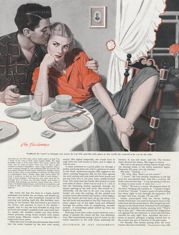 1948 Vintage Magazine Art Illustration Dramatic Couple Wall Decor Print