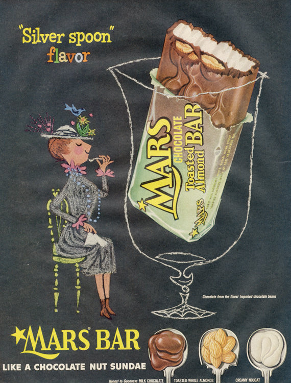 1950s Mars Bar Toasted Almond Candy Bar Ad Kitsch Vintage Advertisement Wall Art Decor