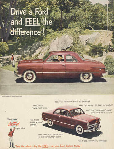 1949 Ford Car Ad Woman Driving Red Automobile Photo Vintage Advertisement Wall Art Decor Print