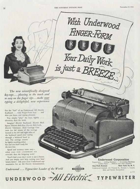 1948 Underwood All Electric Typewriter Ad Secretary Typing Kitsch Vintage Advertisement Retro Office Wall Art Decor
