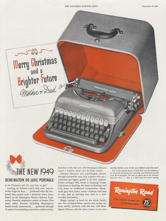 1949 Remington Rand De Luxe Portable Typewriter Ad Secretary Typing Kitsch Vintage Advertisement Retro Office Wall Art Decor