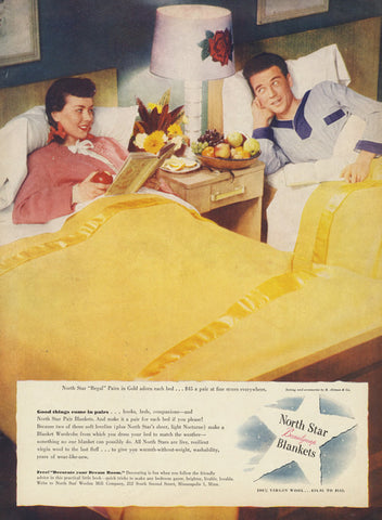1940s Ozzie & Harriet Couple Sleeping in Twin Beds Funny Photo Vintage Advertising North Star Beautynap Blankets Print Ad Wall Art Decor