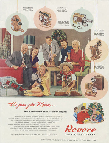 1948 Revere Movie Camera Ad Eights and Sixteens Film Technology Family Christmas Photo Vintage Advertisement Print Wall Art Decor