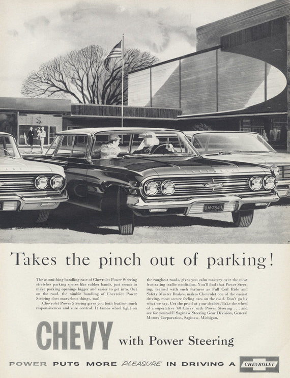 1960 Chevy Car Ad Chevrolet Automobile w/ Power Steering Parking Lot Illustration Vintage Advertisement Garage Dealership Wall Art Print