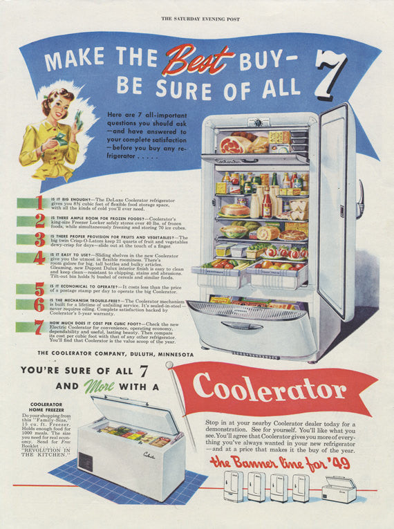 1948 Coolerator Refrigerator Ad Vintage Appliance Advertisement Print Retro Blue & Red Kitchen Wall Art Decor