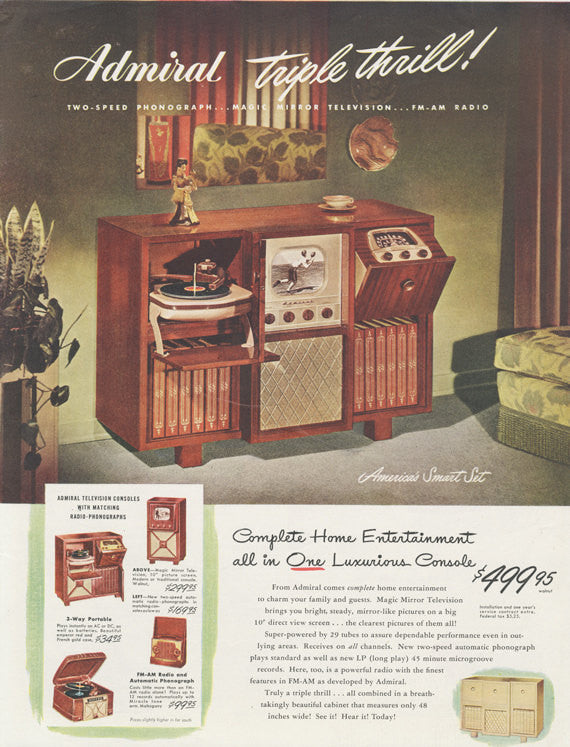 1948 Admiral Television Console Radio-Phonograph Ad Mid Century America Vintage Advertisement Wall Art Decor