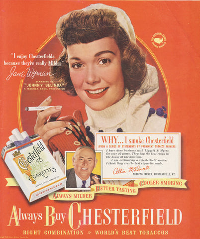 1948 Chesterfield Cigarettes Ad Movie Star Jane Wyman Photo Vintage Tobacco Advertising Old Hollywood Art Print Bar Wall Decor