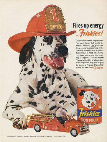 Friskies Dog Food Ad Dalmatian Toy Fire Truck Photo Print 1962 Original Vintage Advertising Cute Wall Art Decor