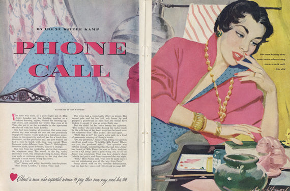 "1950s Vintage Magazine Art Woman ""Phone Call"" Illustration Coby Whitmore Phone Call Colorful Wall Decor"
