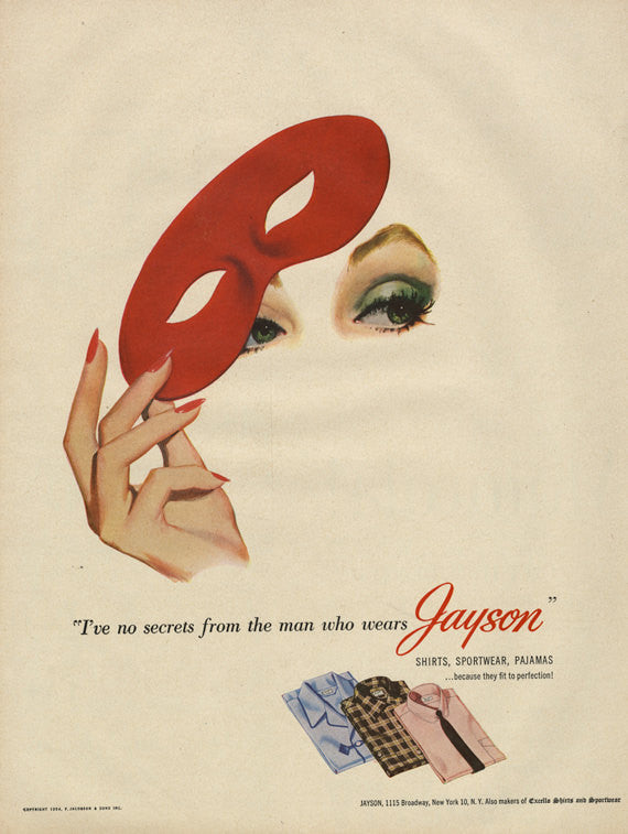 1954 Jayson Shirts Sportswear Pajamas Ad Men's Clothing Vintage Advertising Fashion Print Woman Red Eye Mask Illustration Boutique Wall Art