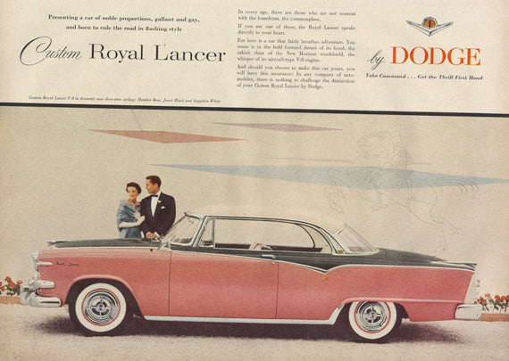 1955 Dodge Custom Royal Lancer Pink Classic Car Ad Vintage Automobile Photo Print Wall Art Decor