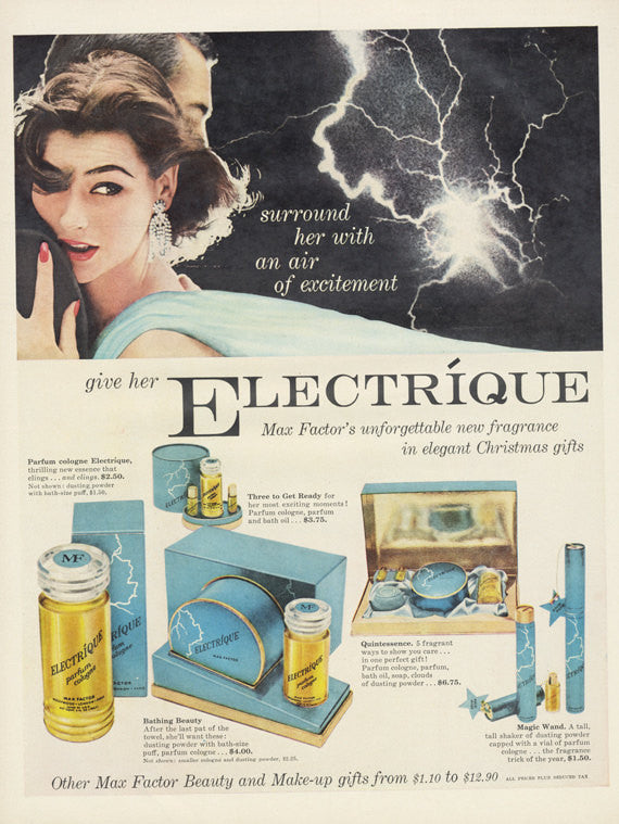 Max Factor Electrique Perfume Ad Couple Lightning Storm Photo 1950s Vintage Fragrance Christmas Gift Set Advertising Bathroom Wall Art