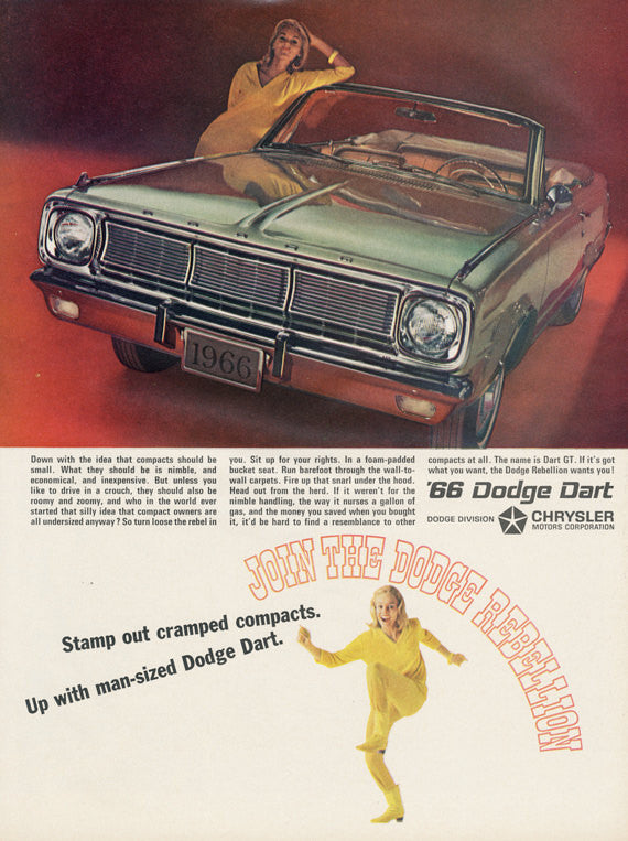 1966 Chrysler Dodge Dart Car Ad Green Convertible Automobile Photo Vintage Advertisement Wall Art Decor