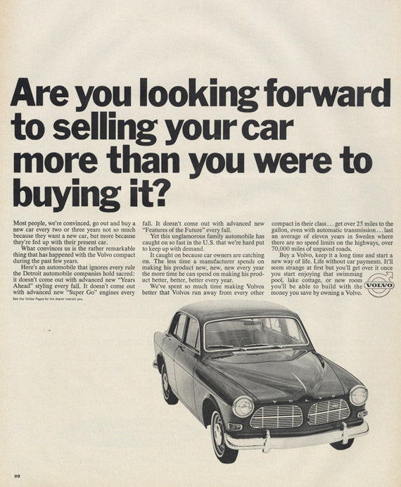 1966 Volvo Ad Automobile Black & White Photo Vintage Advertising Car Dealership Wall Art Decor