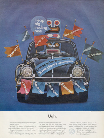 1964 Volkswagen Beetle Ad VW Bug Politically Incorrect Vintage Advertisement Print Wall Art