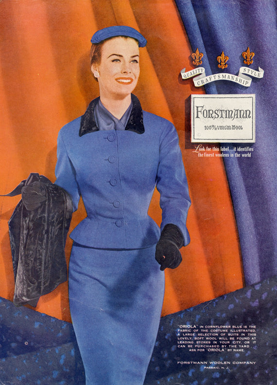1955 Forstmann Wool Ad 1950s Women's Fashion Woman in Blue Suit Vintage Advertisement Retro Print Boutique Wall Art Decor