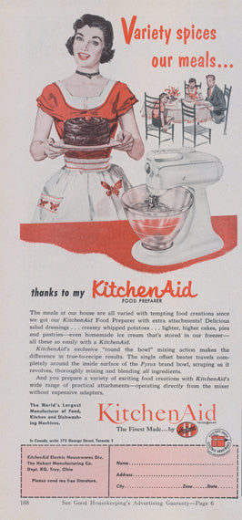 1953 KitchenAid Mixer Ad 1950s Housewife with Cake Vintage Food Preparer Household Appliance Advertising Print Kitchen Bakery Wall Art