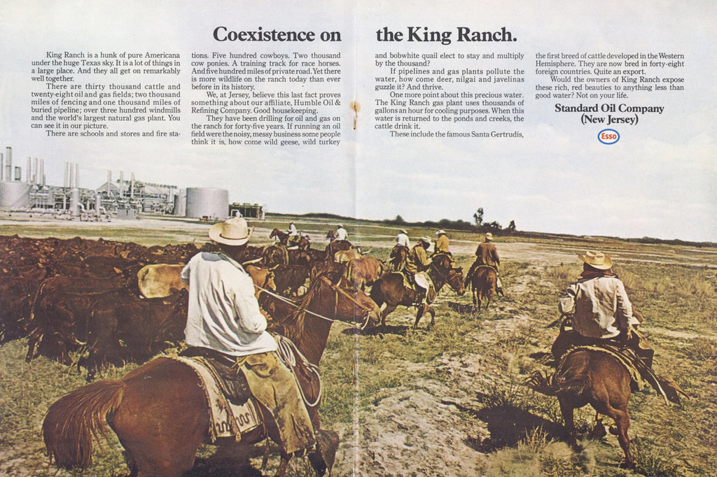 1970 King Ranch Texas Cowboy Horse Cattle Photo Esso Oil Vintage Advertisement Print Rustic Americana Wall Art Decor
