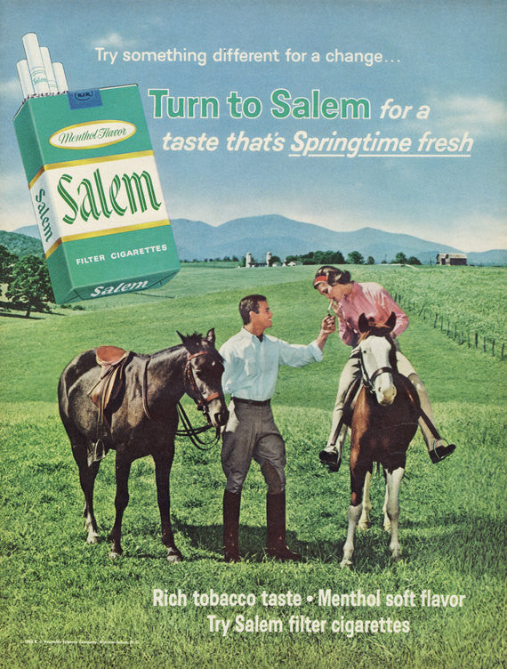1965 Salem Menthol Cigarettes Ad 1960s Couple Riding Horses Country Photo Vintage Advertisement Retro Wall Art Print
