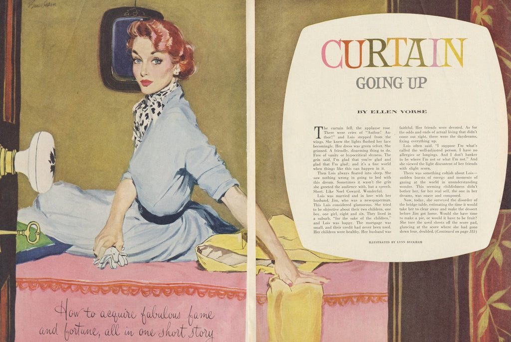 "1950s Vintage Magazine Illustration Art Redhead Woman ""Curtain Going Up"" Lynn Buckham Colorful Wall Decor Print"