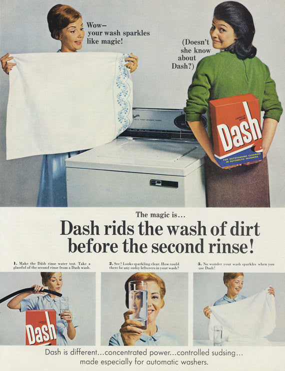 1967 Dash Laundry Detergent Mad Men Era Vintage Advertisement Print Wall Art Decor