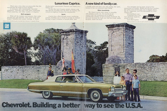 1972 Chevrolet Caprice Vintage Car Advertisement Family Photo Wall Art Decor