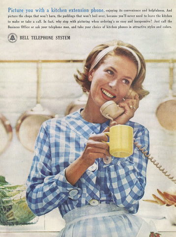 1963 Bell Telephone System Ad 1960s Housewife Kitchen Extension Phone Photo Mad Men Era Vintage Advertisement Wall Art Decor Print