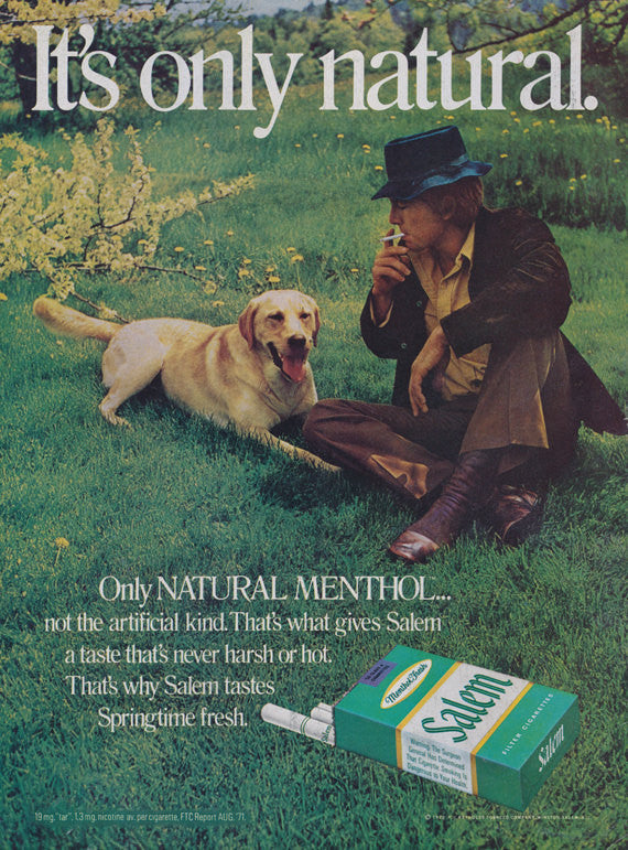 1972 Salem Menthol Cigarettes Vintage Ad Golden Retriever Dog 70s Man Smoking Photo Retro Country Wall Art