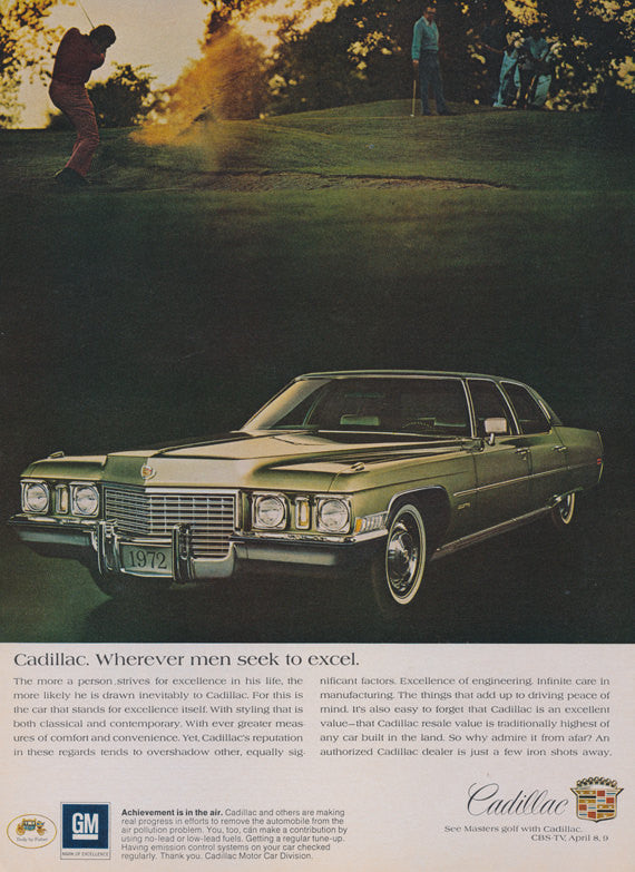 1972 Cadillac Classic Vintage Car Advertisement Golf Course Photo Print Wall Art Decor