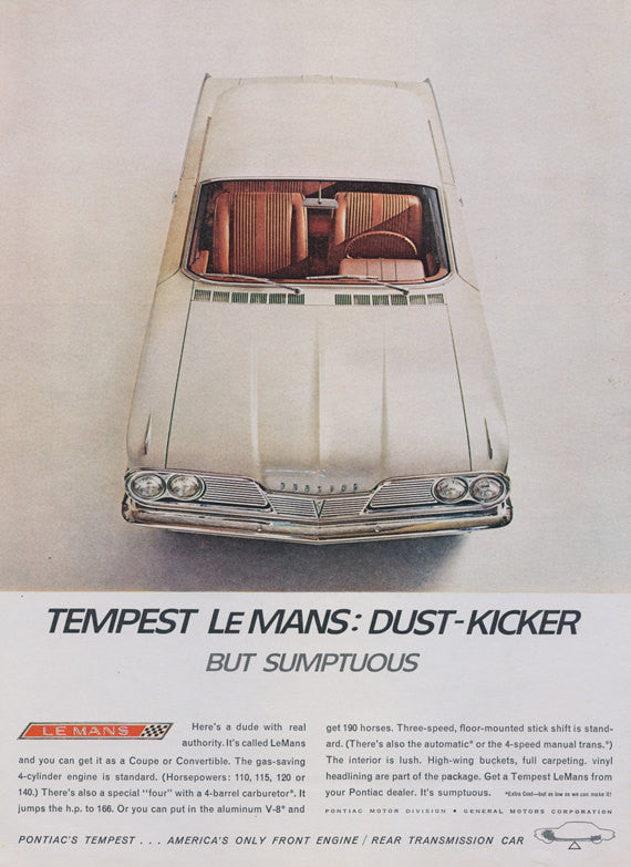 1962 Pontiac Tempest Le Mans Dust-Kicker Vintage Car Advertisement Garage Wall Art Decor