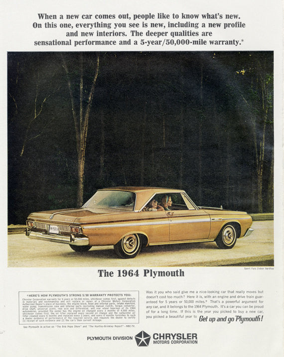 1964 Chrysler Plymouth Sport Fury 2-Door Hardtop Vintage Car Advertisement Print Wall Art Decor