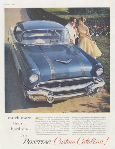 1956 Pontiac Custom Catalina Car Ad Blue Automobile Prom Couple Photo Vintage Advertising Print Wall Art Decor