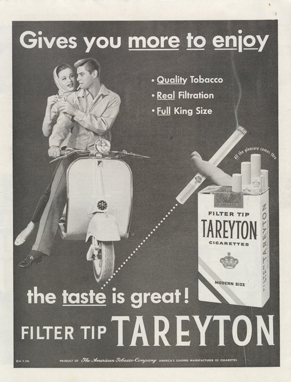 1956 Tareyton Cigarettes Ad Motor Scooter Motorcycle Retro Couple Photo Vintage Advertisement Wall Art Decor