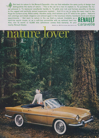 "1961 Ad Renault Caravelle Classic Car Mad Men Era Automobile Mustard Gold Convertible Photo ""Nature Lover"" Vintage Advertising Wall Art"