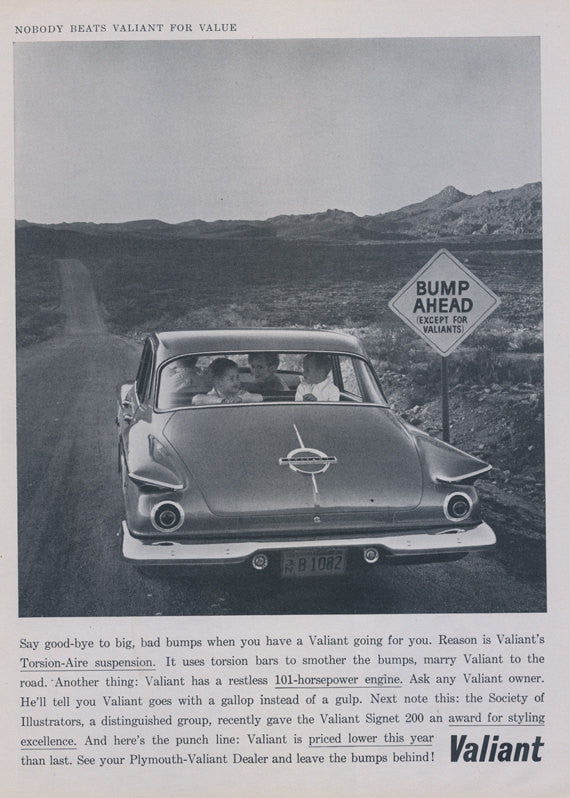 1962 Plymouth Valiant Car Ad Vintage Advertisement Print Bump Ahead Sign Children in Automobile Photo Wall Art