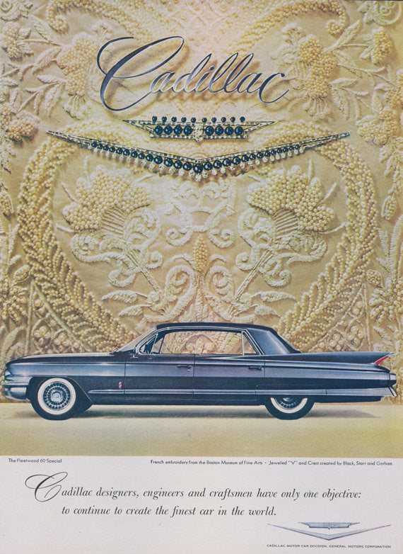 1961 Fleetwood Cadillac 60 Special Classic Car Ad Automobile Illustration Vintage Advertisement Wall Art Print Decor