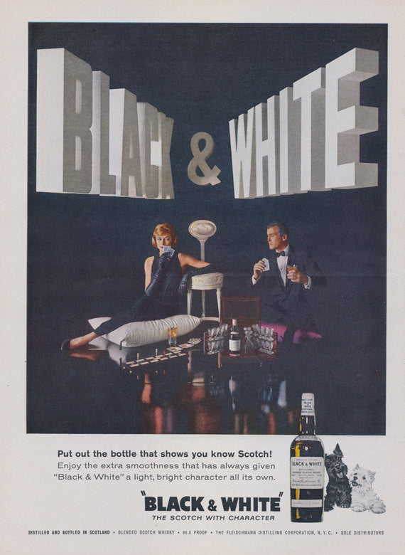 1960s Black & White Scotch Whisky Ad Couple Playing Cards Photo Vintage Liquor Advertisement Bar Wall Art Decor