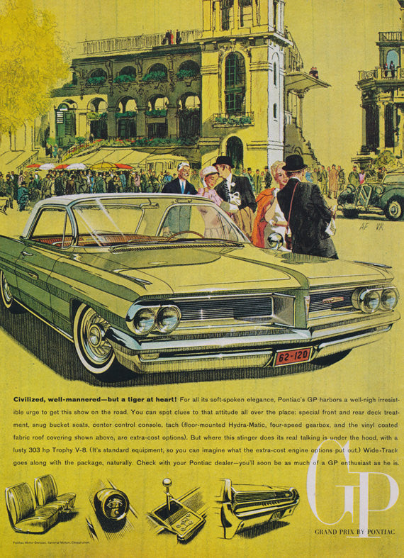 1962 Pontiac Grand Prix Car Ad City Art Yellow Illustration Vintage Advertising Print Wall Decor
