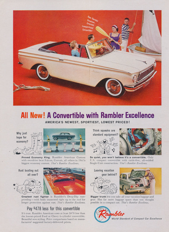 1961 Rambler Convertible Ad Mad Men Era Vintage Automobile Advertisement Print Garage Wall Art Decor