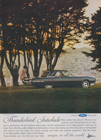 1962 Ford Thunderbird Ad Classic Car Sunset Photo Vintage Advertisement Wall Art Print