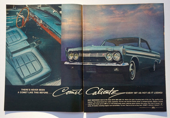 1964 Comet Caliente Car Photo Ad Ford Blue Automobile Vintage Advertisement Garage Wall Art Print