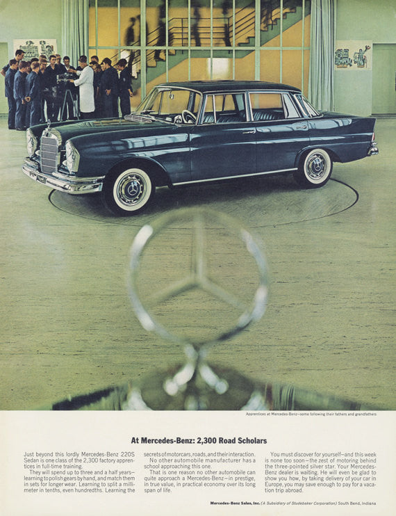 "1963 Mercedes-Benz 220S Car Ad ""Road Scholars"" Vintage Advertising Garage Wall Art Decor Print"