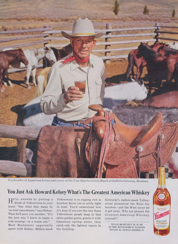 Yellowstone Whiskey Ad Howard Kelsey Montana Ranch Photo 1960s Vintage Advertising Art Print Rustic Country Western Bar Pub Wall Decor