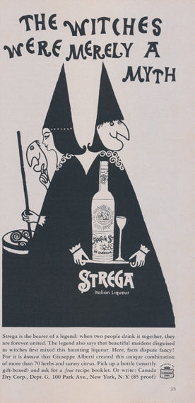 1960 Stregga Italian Liqueur Ad Witches Illustration Vintage Liquor Advertisement Bar / Halloween Wall Decor Print