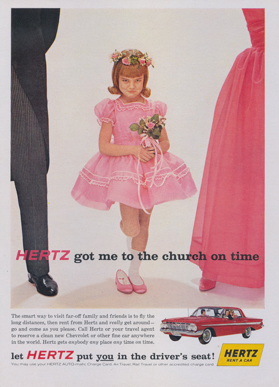 1961 Hertz Rent A Car Ad Flower Girl Devil Child Photo Mad Men Era Vintage Advertising Wall Art Print Decor