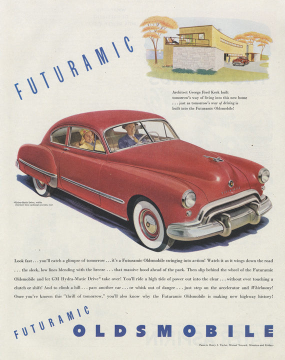 1948 Futuramic Oldsmobile Classic Car Vintage Ad Red Automobile Illustrated Advertisement Garage Mechanic Shop Wall Art Decor