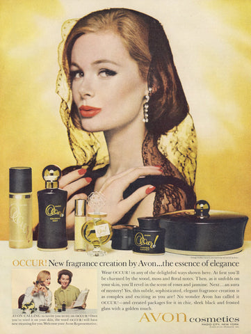 1960s Avon Cosmetics Occur Fragrance Ad Vintage Perfume Advertisement Pretty Woman Photo Retro Beauty Print Bathroom / Vanity Wall Art Decor