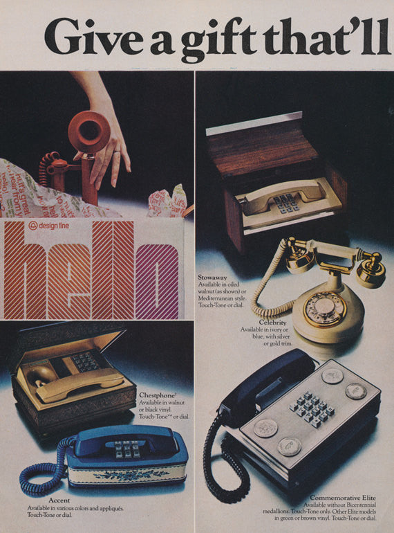 1975 Bell System Design Line Phones Ad Vintage Telephone Advertisement Retro Office Wall Decor